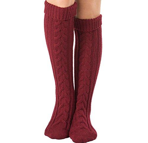 Mujer Calcetines hasta las rodillas, Tukistore Color Puro Calcetines largos de punto elásticos...