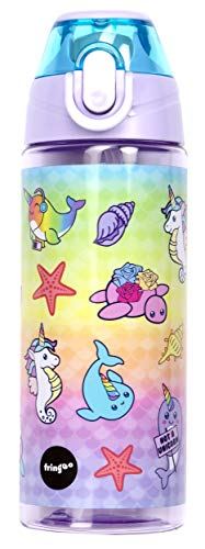 Fringoo - Botella de agua resistente y práctica para niños con pajita, a prueba de fugas,...