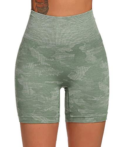 FITTOO Leggings Cortos Mujer Sin Costura Mallas de Yoga Alta Cintura Elásticos #3 Verte S
