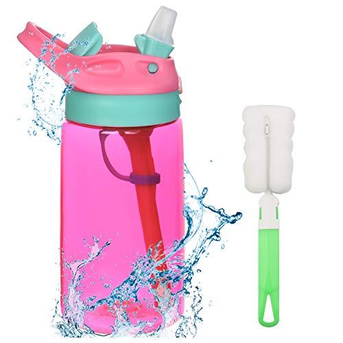 flintronic Botella Agua con Pajitas, Botella de Agua para Niños, 480ml/16OZ Botella a prueba de...