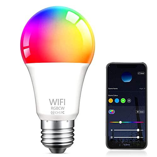 Bombilla LED Inteligente WiFi , Aweskmod E27 9W Smart Light Bombilla Luces Cálidas RGB...