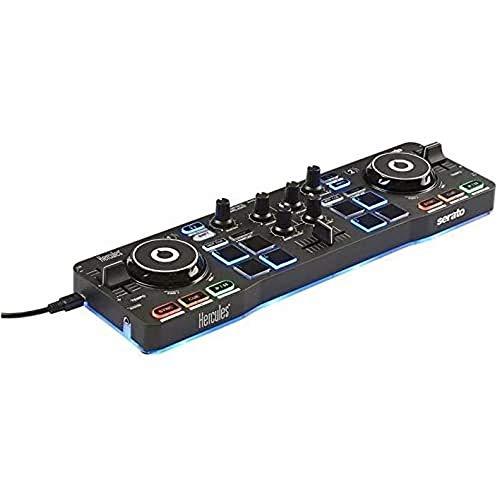 Hercules DJControl Starlight - Controlador de DJ USB portátil 2 Pistas con 8 Pads/Tarjeta de Sonido...