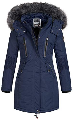 Geographical Norway - Chaqueta Coracle/Coraly de invierno para mujer con capucha de pelo, XL Navy...
