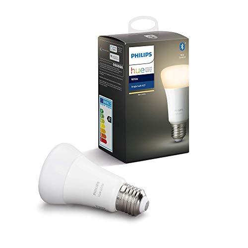 Philips Hue Bombilla Inteligente LED E27, con Bluetooth, Luz Blanca Cálida, Compatible con Alexa y...