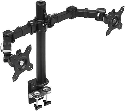 Amazon Basics - Soporte para dos pantallas con brazo de montaje con altura ajustable, rotación de...