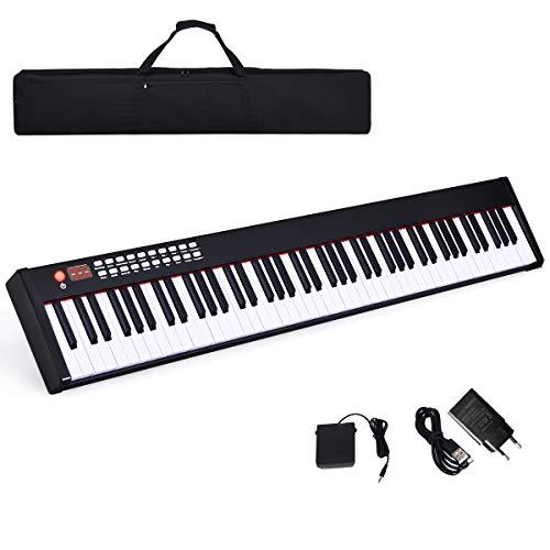 COSTWAY Teclado Piano Digital de 88 Teclas con Bluetooth/128 Ritmos/MIDI/Interfaz USB y Estuche de...