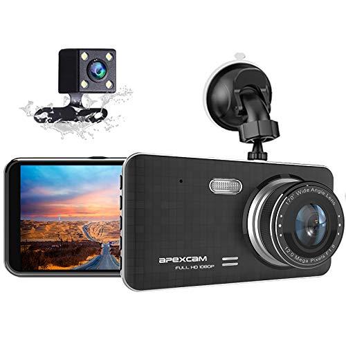 Apexcam Camara Coche 4' IPS Dashcam Full HD 1080P 170° Gran Ángulo Visión Nocturna Camara de...