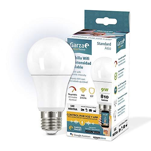 Garza ® Smarthome - Bombilla LED Estandar Inteligente Wifi E27, luz blanca neutra regulable con...