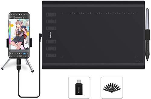 HUION H1060P Tableta gráfica con área de Trabajo de 10 x 6.25 Pulgadas con una Mejora Soporte de...