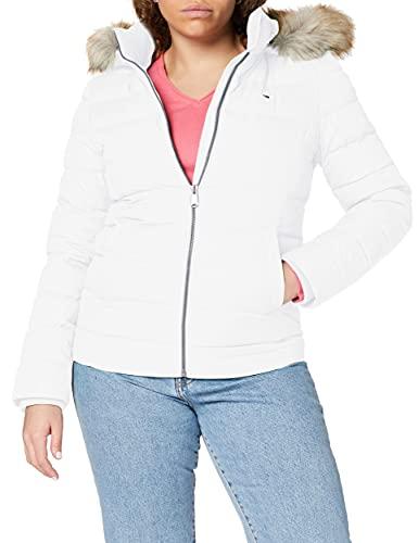 Tommy Jeans Tjw Basic Hooded Down Jacket Chaqueta, Blanco (White), XXS para Mujer