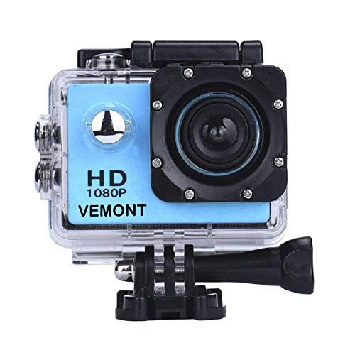 VEMONT Cámara Deportiva 1080P HD Impermeable 30M Pantalla de 2.0 Lente de Gran Angular de 120...