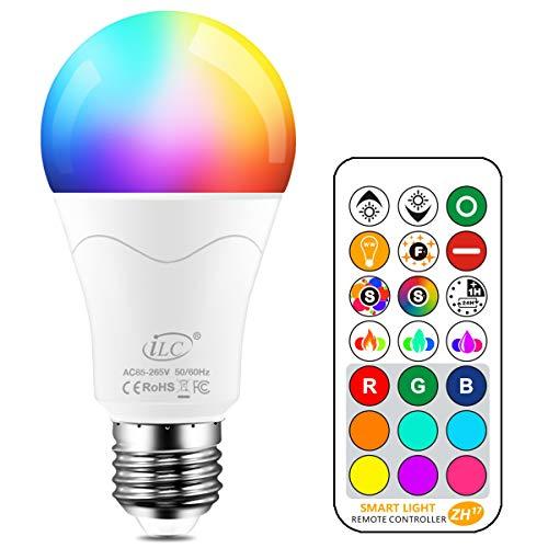 iLC Bombillas Colores RGBW 85W Equivalente LED Bombilla Regulable Cambio de Color Edison 12W E27 -...