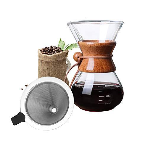 Bestcool Cafetera con filtro de acero inoxidable, 400 ml con filtro de acero inoxidable, jarra de...