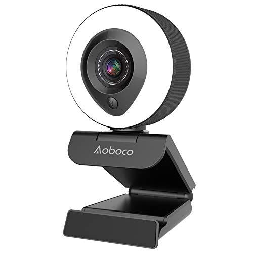 Webcam Streaming HD 1080p con micrófono dual y anillo de luz, USB Pro Web Camera Stream para Mac...