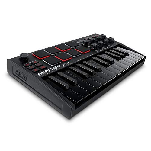 AKAI Professional MPK Mini MK3 Black - Teclado Controlador MIDI USB de 25 Teclas con 8 Drum Pads, 8...
