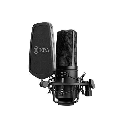 Boya Micrófono de condensador de alta membrana de 24 V, 48 V, alimentación fantasma, carcasa...