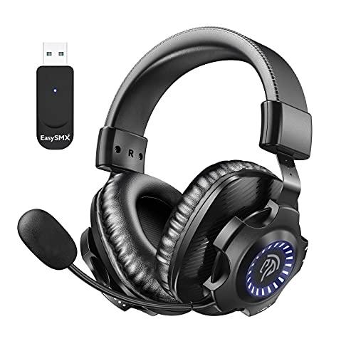 Auriculares Gaming Inalámbricos PS5 PS4, [Regalos] EasySMX 2.4G Cascos Gaming Inalámbrico Estéreo...