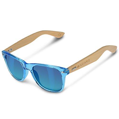 Navaris Gafas de sol UV400 - Gafas de madera para hombre y mujer - Gafas de sol con patillas de...