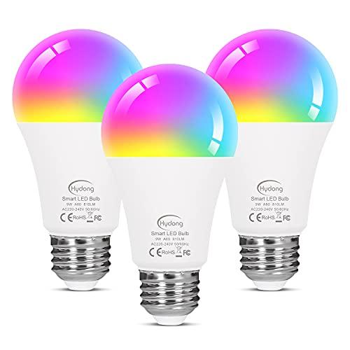 Bombilla LED Inteligente WiFi, Regulable 9W E27 Bombilla LED, 9W 810LM RGB Multicolor Bombilla...