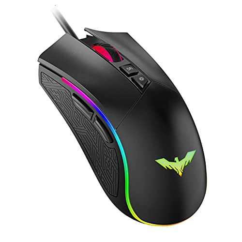 havit Ratón Gaming 7 Botones Mouse Gaming programables Iluminación RGB [800-1600-2400-4800] para...