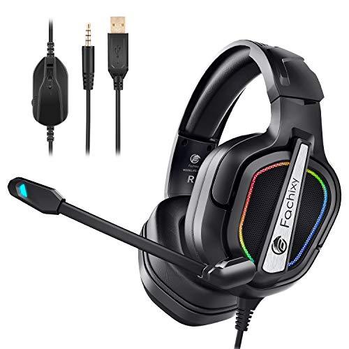 Fachixy Auriculares Gaming para PS4/PS5/PC/Xbox One/N-Switch, Cascos Gaming Cancelación de Ruido,...