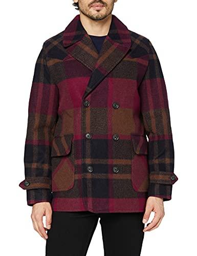 Marca Amazon - find. Abrigo Cruzado de Cuadros Hombre, Rojo (Red), S, Label: S