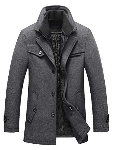 Abrigo cálido de lana para hombre de Lavnis, cuello alto, abrigo de invierno, abrigo corto,...