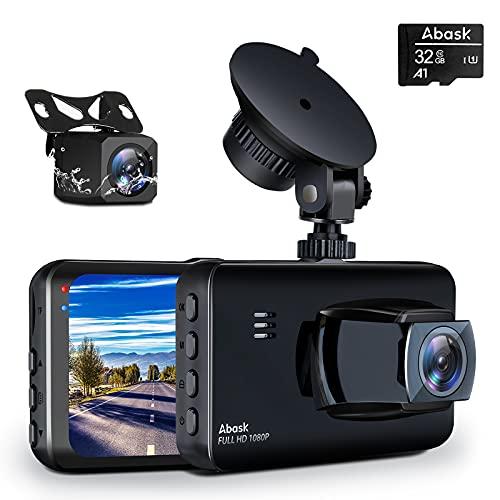 Abask Cámara de Coche, 170° Gran Ángulo Frente y 150° Gran Ángulo Trasera Full HD Doble 1080P...