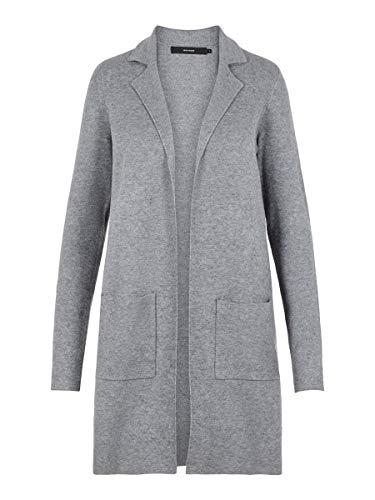 Vero Moda Vmtasty Fullneedle LS New Coatigan Noos Abrigo, Gris (Medium Grey Melange Medium Grey...