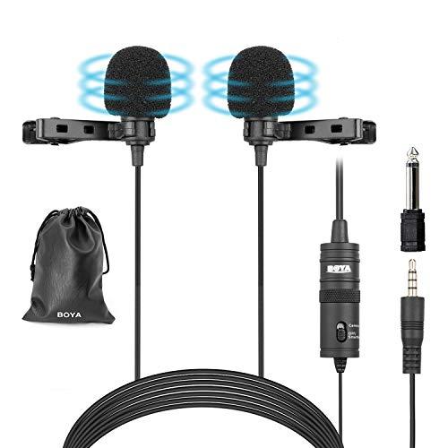 BOYA BY-M1DM Micrófonos lavalier dobles, Micrófono de solapa de condensador omnidireccional para...