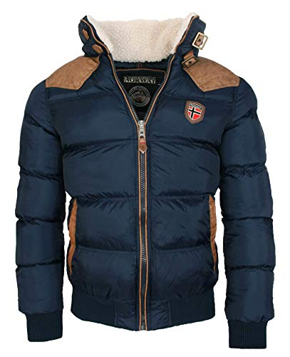 Geographical Norway Cálida chaqueta de invierno acolchada para hombre azul marino S