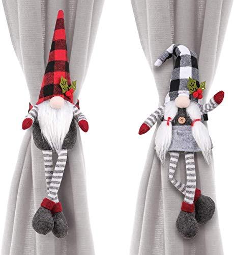 Aceshop Juego de 2 Hebillas para Cortina de Navidad, Corbata de Cortina de Muñeco de Nieve de Papá...
