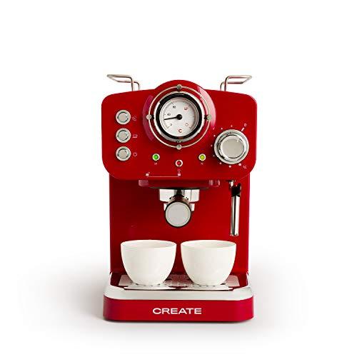 IKOHS THERA Retro - Cafetera Express para Espresso y Cappucino, 1100W, 15 Bares, Vaporizador...