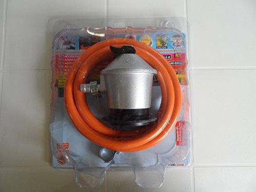 S&M Kit Regulador de Gas Butano/Propano con Válvula de Seguridad + Tubo Goma 1,5 M + 2 Abrazaderas,...