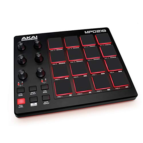 AKAI Professional MPD218- Controlador de pads MIDI USB portátil con 16 pads MPC y 6...