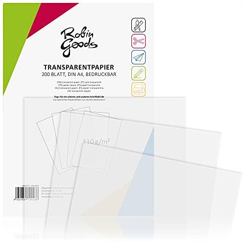 Robin Goods® 200 Hojas de Papel Transparente Premium DIN A4, 110 g/m², Super Calidad, imprimible,...