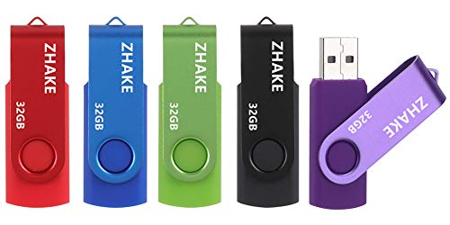 Memorias 32GB USB 2.0 5 Piezas Pendrive USB Stick Flash Drive con Indicado(32GB Verde Púrpura Rojo...