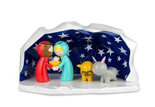 Alessi Happy Eternity AGJ01 W Pesebre de Diseño en Porcelana Decorada a Mano con Figuras de la...