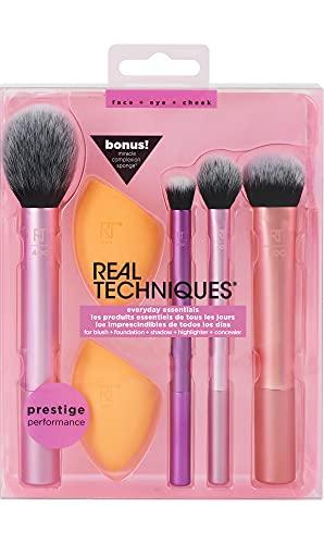 Real Techniques Everyday Essentials - Juego con esponja, brochas y pinceles de maquillaje, esponja...