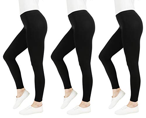 FM London Casual Leggings, Negro, M para Mujer (3-Pack)