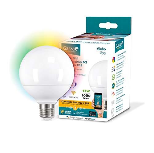 Garza ® Smarthome - Bombilla LED Globo G95 Intelegente Wifi E27, luz blanca neutra regulable con...