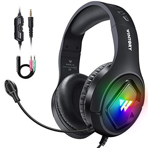Cascos Gaming, Auriculares Gaming PS4 PC con Microfono Diadema con RGB Luz LED y Cancelació de...