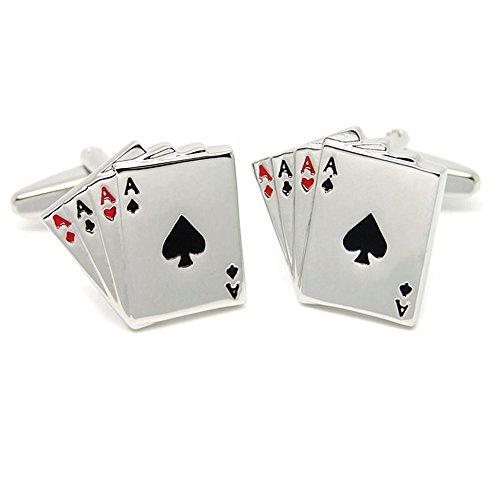 Gemelos en Forma de Poker Carta 4A Gemelos de Moda de Color Plateado para Hombres
