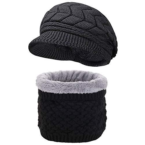 CheChury Mujer Bufanda Sombrero de Boina Set Invierno Bufanda y Gorro de Punto Sombrero Caliente...