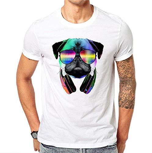 Talla l - Camiseta - Camiseta - Camiseta - Manga Corta - Perro - DJ - Auriculares - Cosplay - Gafas...