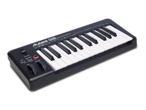 Alesis Q25 - Teclado controlador MIDI USB compacto con 25 teclas sensibles a la velocidad, salida...