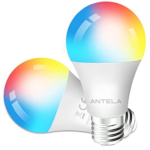 ANTELA Bombilla Inteligente LED E27 Wifi 9W Compatible Con Google Home/Alexa, Bombilla RGB(...