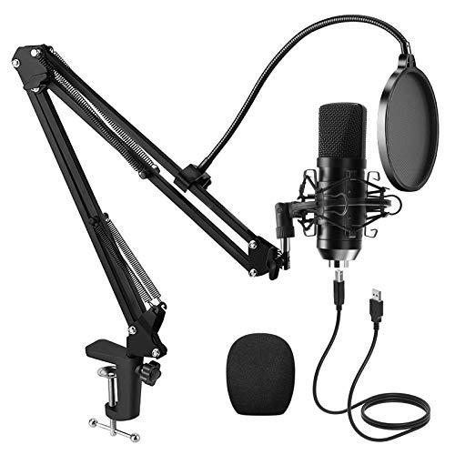 PREUP USB Micrófono Juegos de Micrófonos Profesionales para Podcasts con Soporte de Micrófono,...