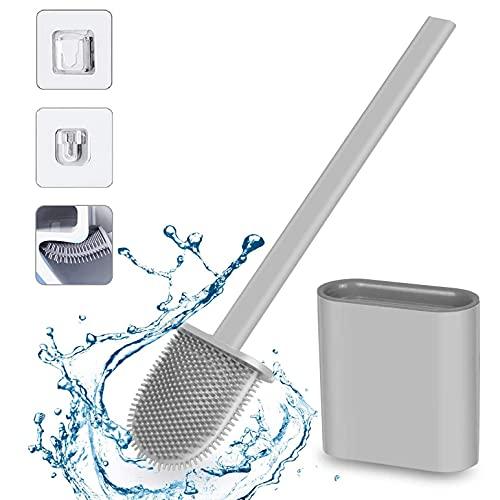 Escobillas WC, Escobilla de Baño Silicona y Soporte para Inodoro, Escobilla WC Silicona con Secado...
