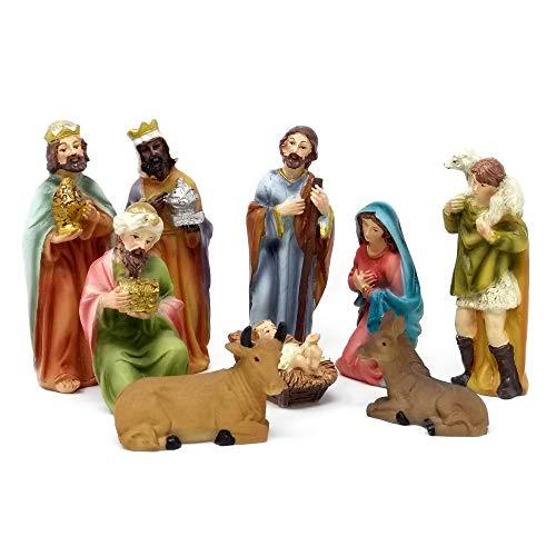 ToCi - Juego de 9 figuras tradicionales para belén navideño,11 cm